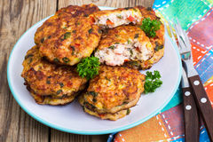Vegetable pancakes with chicken meat Royalty Free Stock Images