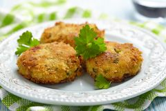 Vegetable pancakes with potato and brussel sprouts Royalty Free Stock Photography