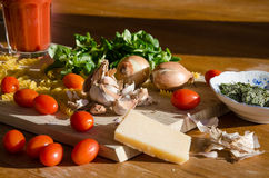 Vegetable, pasta, cheese and juice Royalty Free Stock Images