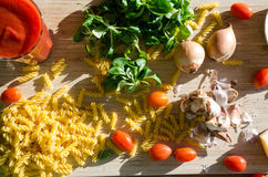 Vegetable, pasta and juice on the table Royalty Free Stock Photography