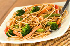 Vegetable and Pasta Stir-Fry Stock Images
