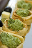 Vegetable pastry canapes Royalty Free Stock Images