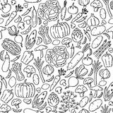 Vegetable pattern background Stationary kids hand drawing set illustration. Isolated on white background Royalty Free Stock Image