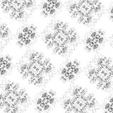Vegetable pattern with the image of flowers of black color on a white background Royalty Free Stock Photography