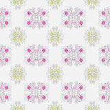 Vegetable pattern with the image of flowers pink and lime flowers on a light-gray background Stock Images