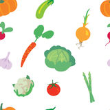 Vegetable pattern on a white background. A seamless pattern consisting of different types of vegetable Vector Illustration