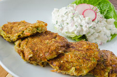 Vegetable patties with cottage cheese and radish salad Royalty Free Stock Photography
