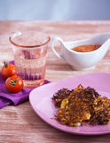 Vegetable patties and water. On the table Stock Photo