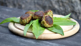 Vegetable patties. On wild garlic Stock Images