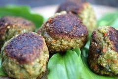 Vegetable patties. On wild garlic Royalty Free Stock Photos