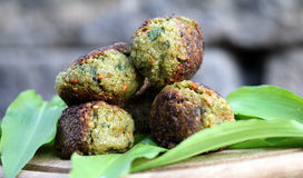 Vegetable patties. On wild garlic Stock Photography