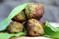 Vegetable patties. On wild garlic Royalty Free Stock Photo