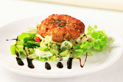 Vegetable patty. Vegetable burger with green salad Stock Photo