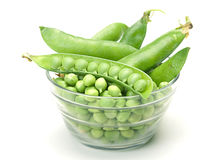 Vegetable peas in glass dishware Stock Image