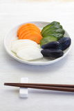 Vegetable pickle. Traditional Japanese vegetable pickle , cucumber , carrot , radish , eggplant Stock Photography