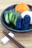 Vegetable pickle. Traditional Japanese vegetable pickle , cucumber , carrot , radish , eggplant Stock Photos
