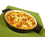 Vegetable pie. Vegetarian vegetable pie with cheese and tomatoe royalty free stock images