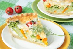 Vegetable pie with broccoli and tomato Stock Images