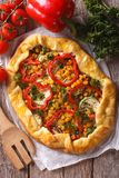Vegetable pie close-up and ingredients. vertical top view Royalty Free Stock Photography