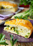 Vegetable pie on a plate Royalty Free Stock Photos