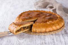Vegetable pie. On a wooden surface Royalty Free Stock Photos