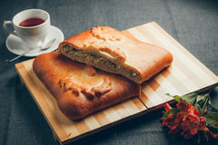 Vegetable pie. On a wooden surface royalty free stock image