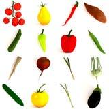 16 vegetable pieces Stock Photo