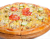 Vegetable pizza made from bio cheese, tomato, olive, mushroom, p Stock Images