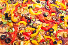 Vegetable pizza texture Stock Photos