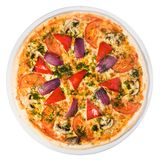 Vegetable pizza from the top Stock Photo
