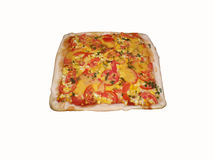 Vegetable pizza on the white background. Vegetable pizza with cheese, eggs and slices of meat on a white background stock photo