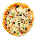 Vegetable Pizza on White Background Royalty Free Stock Image