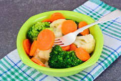 Vegetable Plate: Broccoli and Carrots. Diet Fitness Nutrition. Stock Photo