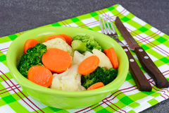 Vegetable Plate: Broccoli and Carrots. Diet Fitness Nutrition. Royalty Free Stock Photos