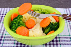 Vegetable Plate: Broccoli and Carrots. Diet Fitness Nutrition. Royalty Free Stock Images