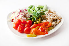 Vegetable plate with mushrooms Royalty Free Stock Photography