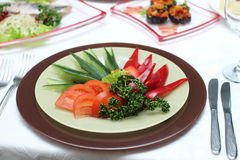 Vegetable plate. Plate with tomatos, cucumbers and salad Royalty Free Stock Photo