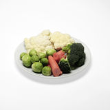 Vegetable Plate on White Surface Royalty Free Stock Photos