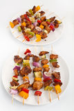 Vegetable and poultry grilled kebabs Stock Photo