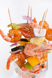 Vegetable and Prawn grilled kebabs Royalty Free Stock Photos
