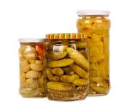 Vegetable preserves. cucumbers, peppers, mushrooms Royalty Free Stock Images