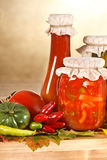 Vegetable preserves and vegetables Stock Photography