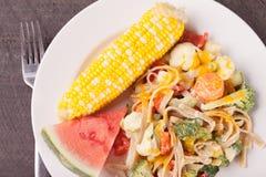 Vegetable Primavera с арбузом и мозолью над съемкой Стоковые Фотографии RF
