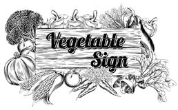Vegetable produce sign Stock Photos