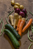 Vegetable produce on a wooden table Stock Photos