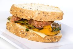 vegetable proscuitto sandwich Royalty Free Stock Photos