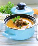Vegetable pumpkin cream soup with walnuts Royalty Free Stock Photography