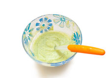 Vegetable puree in a transparent bowl Stock Images