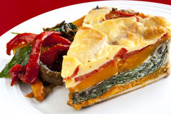 Vegetable Quiche with Salad Royalty Free Stock Images
