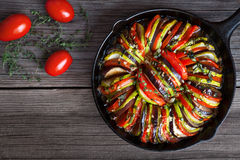 Vegetable ratatouille baked in cast iron frying Royalty Free Stock Photos